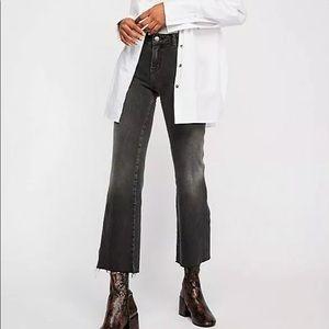 Free People Rita Raw Edge Crop Flare Jeans NWT